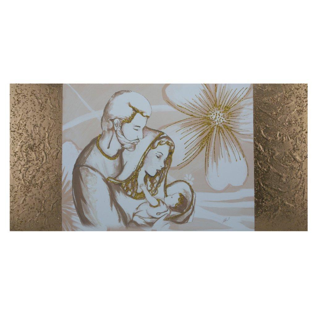 Capezzale quadro su tela Sacra Famiglia fasce laterali Oro