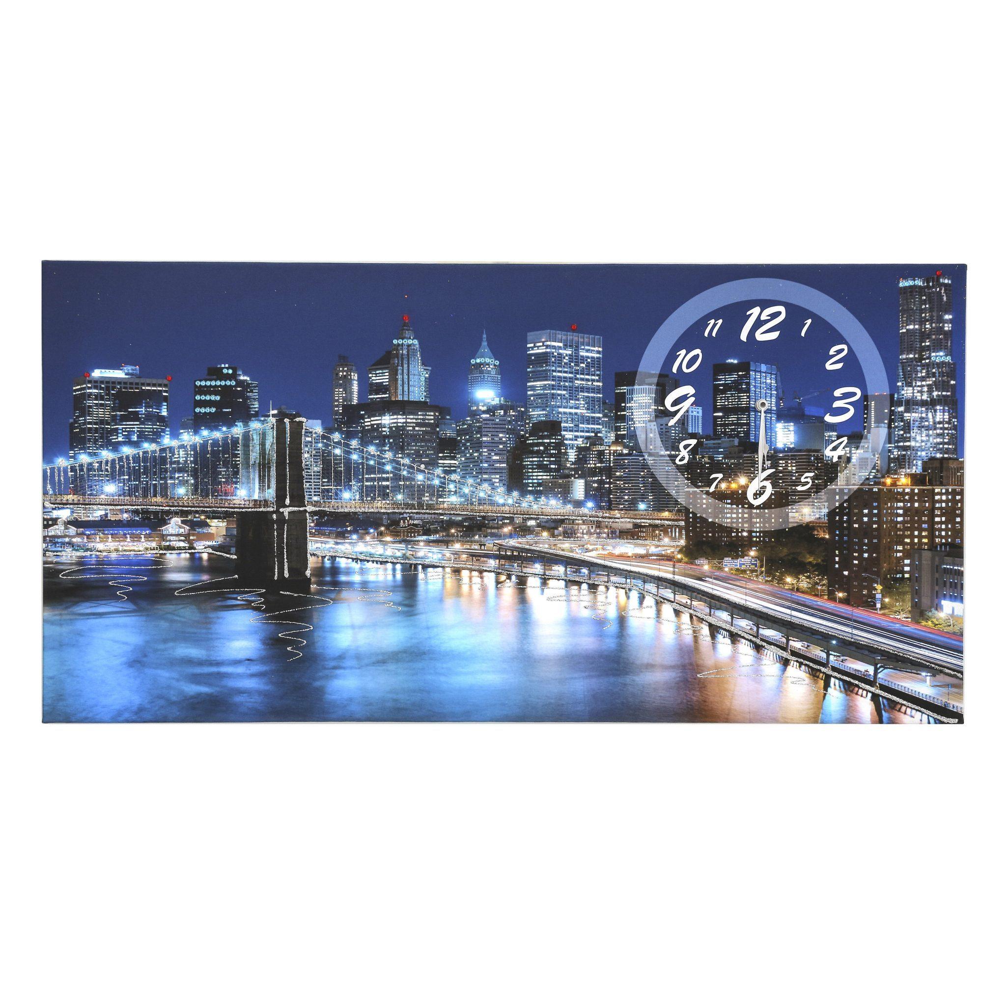 quadro su tela Brooklyn con orologio