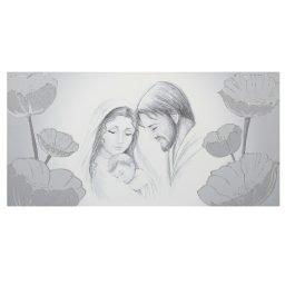 Quadro-capezzali Sacra Famiglia con decoro papaveri argento