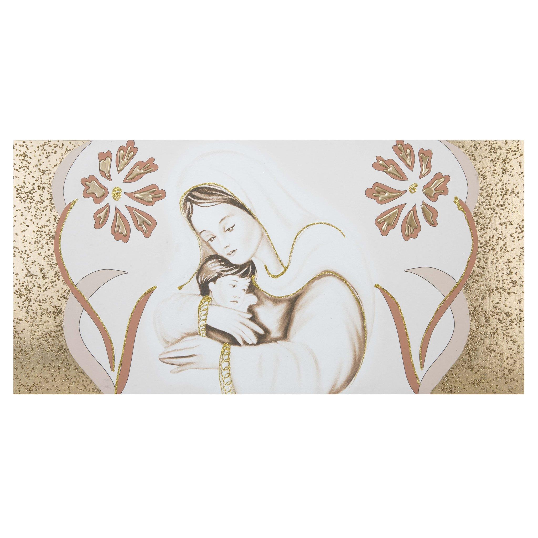 Capezzale su tela per camera da letto Maternità fiori oro -