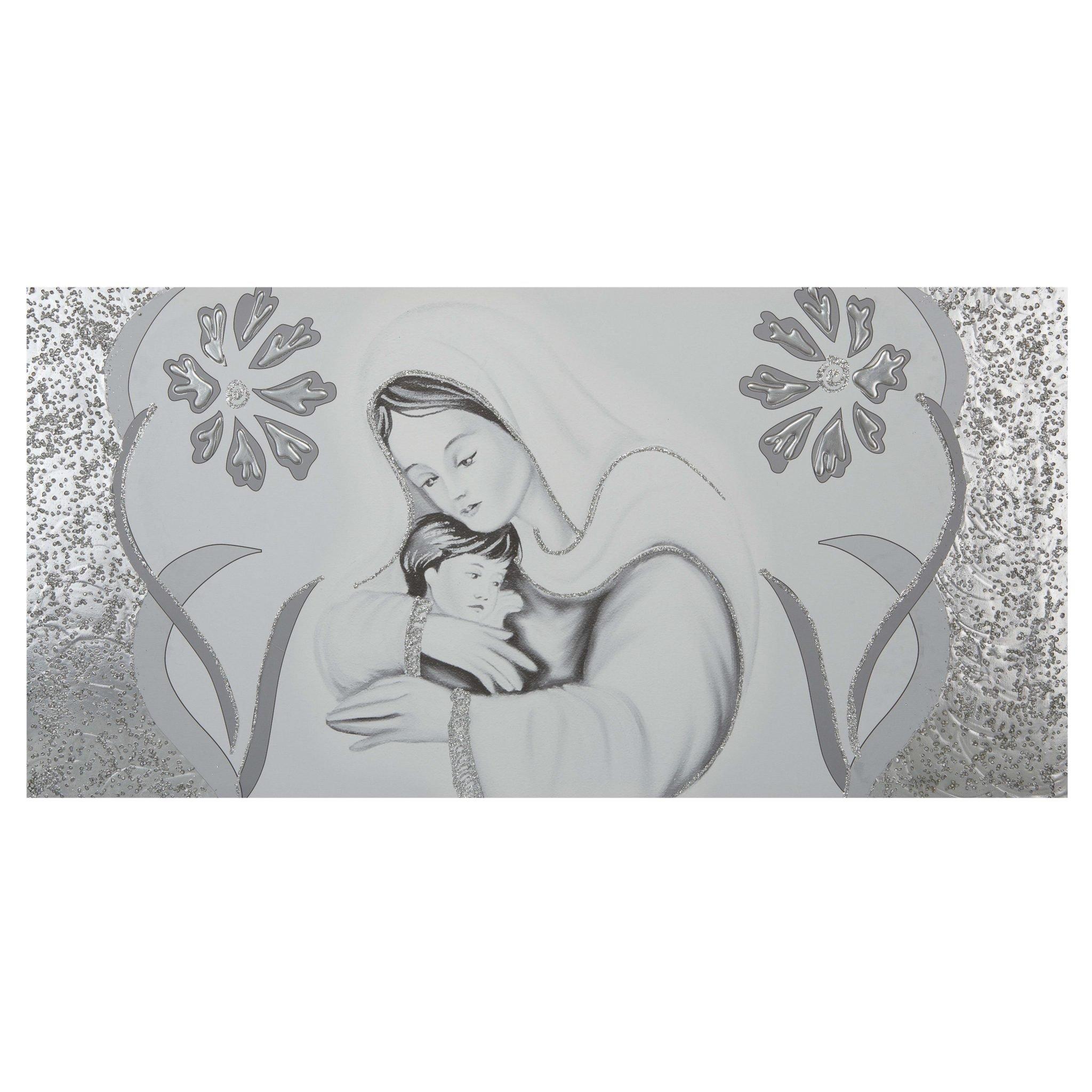 Quadro-capezzale camera da letto Maternità fiori argento -