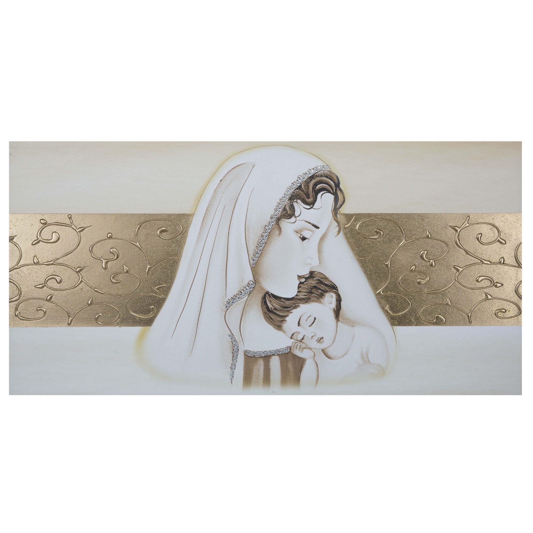 Quadro-capezzale camera da letto Maternità con fascia centrale oro