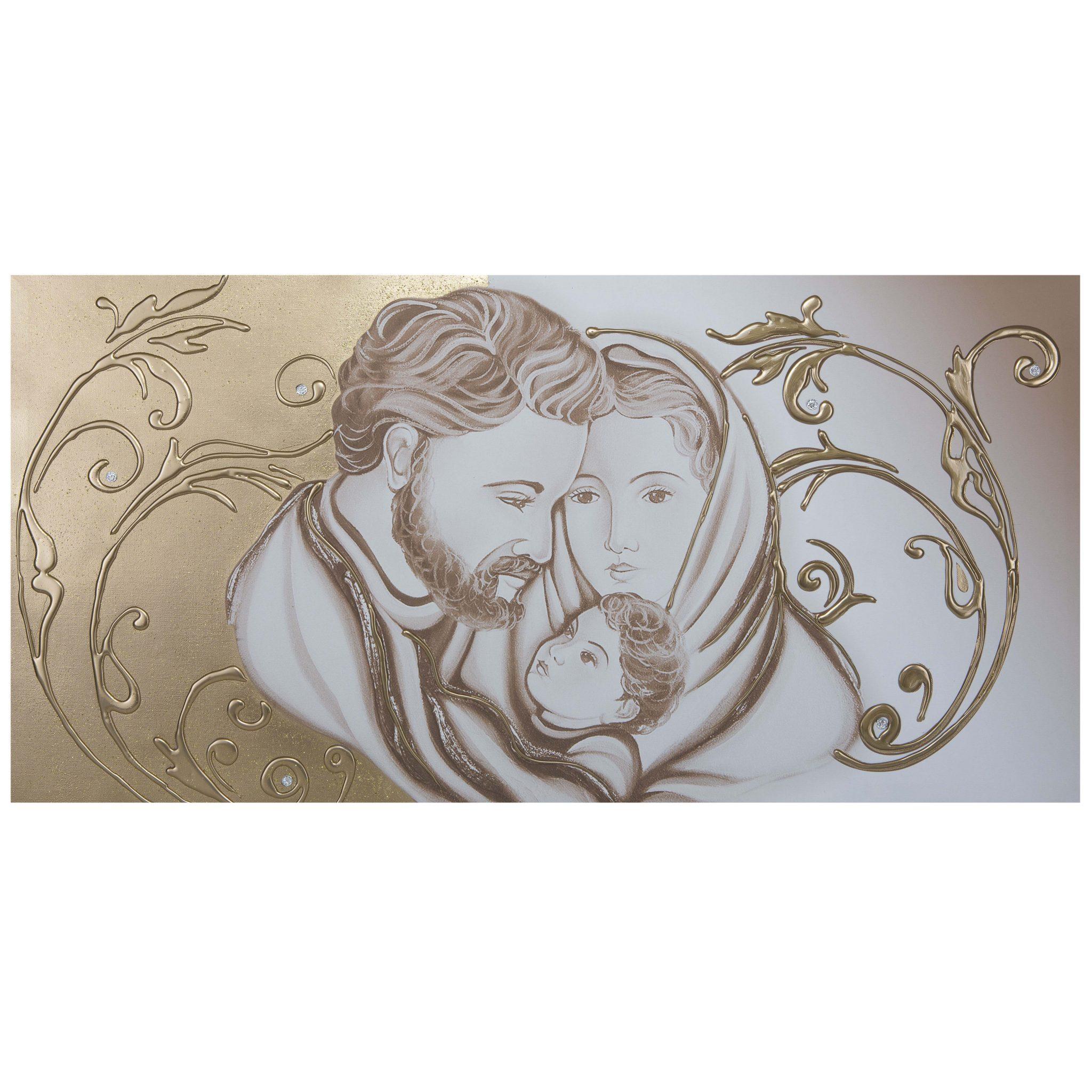 Capezzale quadro per camera da letto sacra famiglia floreale oro - Quadri x camera da letto ...