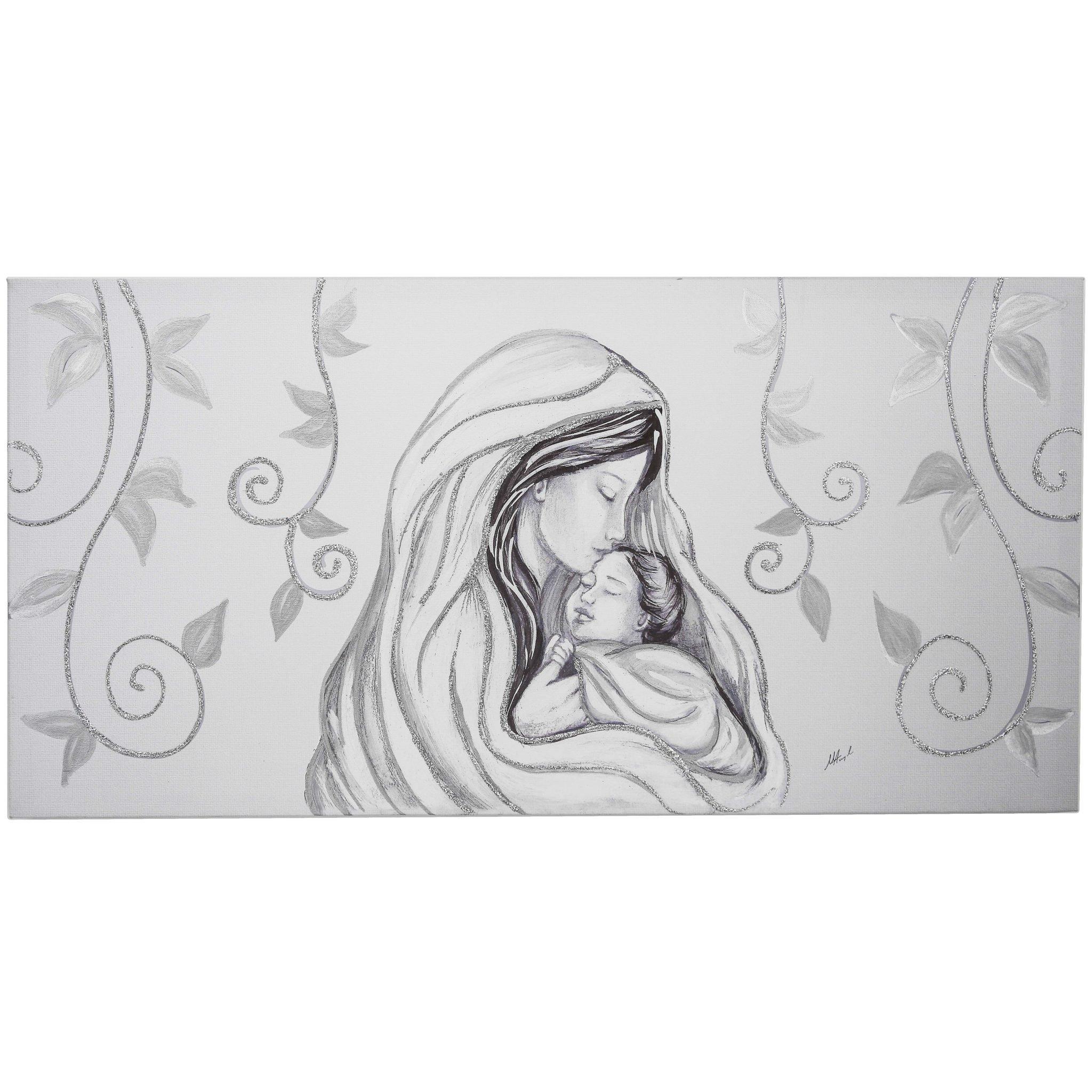 Capezzale camera da letto Maternità foglie argento