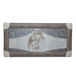 Quadro capezzale con cornice e strass Sacra Famiglia tende argento