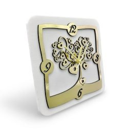 Orologio da Tavolo Lamina Dorata Tema Albero Cuore